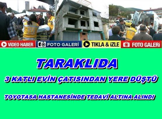 Taraklı'da 3 Katkı Evin Çatısından Düştü